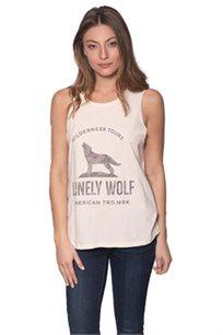 גופייה לנשים זוהרה Lonely Wolf בצבע אופווייט עם הדפס בצבע אפור דהוי