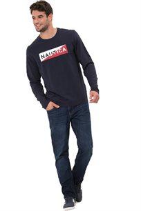 חולצת טי שרט ארוכה Nautica עם צווארון עגול לגברים דגם 93310V4NV בצבע כחול כהה