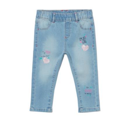 מכנסי ג'ינס סטרצ'ים לתינוקות עם הדפס נוצץ - תכלת
