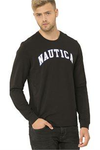 חולצת טי שרט ארוכה Nautica עם צווארון עגול לגברים דגם 93931V0TB בצבע שחור