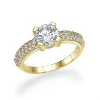 """טבעת אירוסין זהב צהוב """"נטליה"""" 1.85 קראט בשיבוץ 61 יהלומים"""
