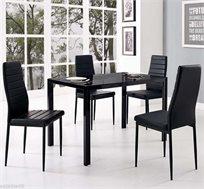 פינת אוכל מעוצבת מזכוכית עם 4 כסאות דמוי עור בשני צבעים לבחירה