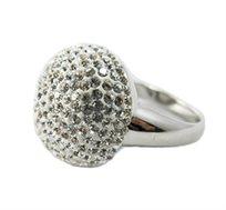 ייחודו של תכשיט! טבעת רודיום משובצת בצורת כדור למראה זוהר ואופנתי
