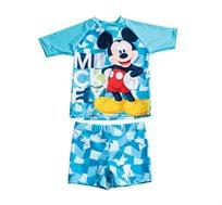 סט בגד ים שרוול קצר מיקי מאוס לילדים בצבע תכלת