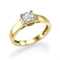 """טבעת אירוסין סוליטר זהב צהוב """"רוברטה"""" 0.51 קראט בשיבוץ יהלום פרינסס"""