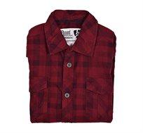 חולצת אריג לגבר E-bound שרוול ארוך - בורדו אדום