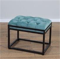 הדום ספסל ישיבה 50ס''מ קטיפה מנטה משולב ברזל שחור 134500