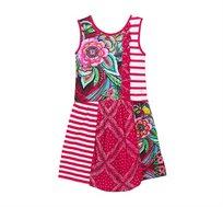 שמלה אביבית בהדפסי פרחים ופיזלי לילדות Desigual דגם Antananarivo בצבע ורוד/צבעוני
