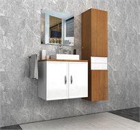 ארון אמבטיה תלוי עם משטח בוצ'ר לכיור צף ומראה