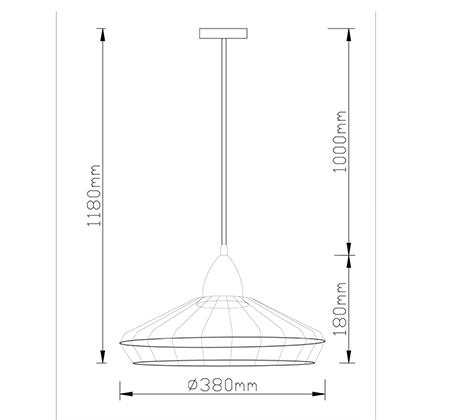 מנורת תליה מעוצבת רינג ביתילי המשלבת מסגרת ברזל ובית נורה העשוי עץ - תמונה 2