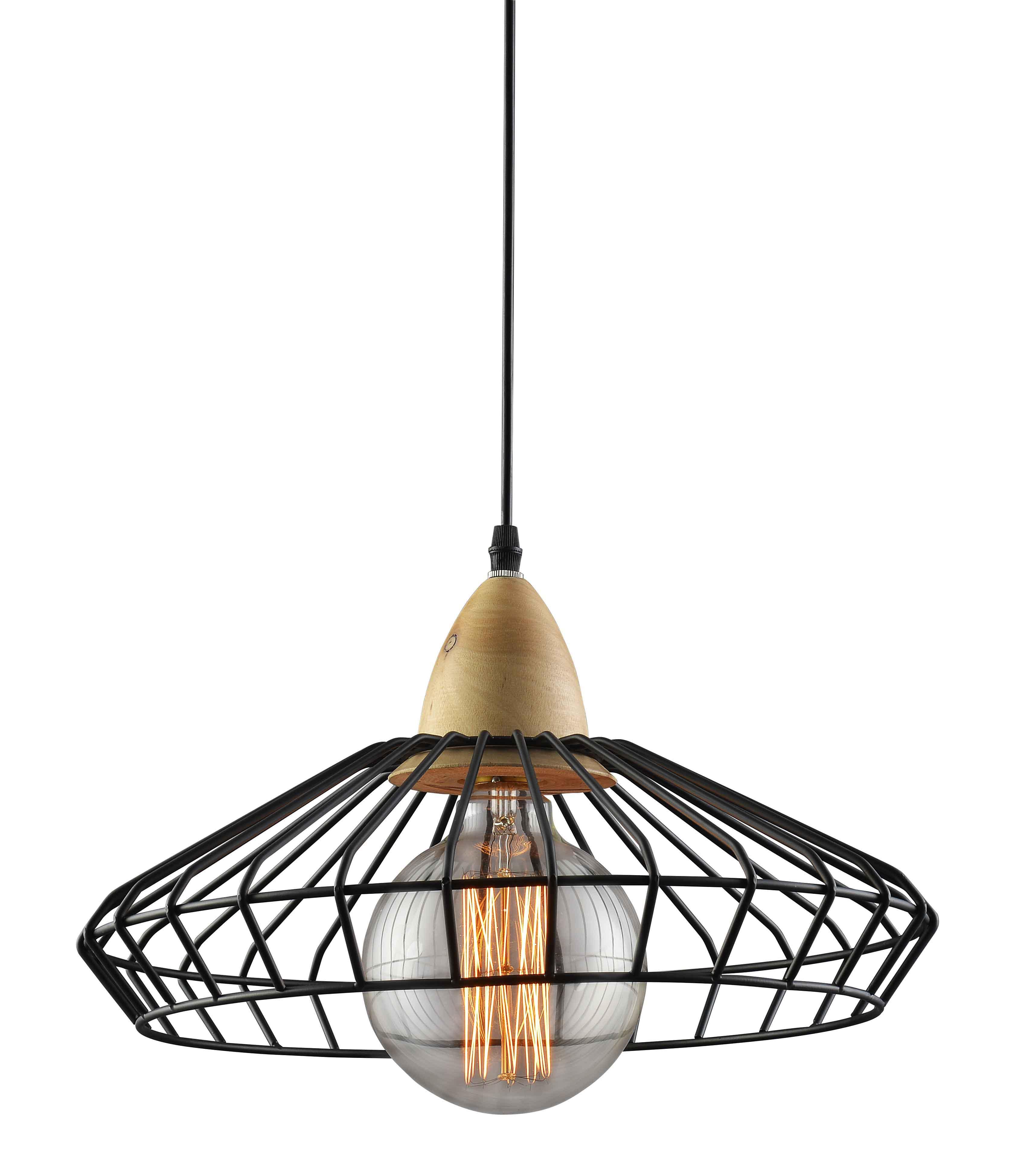 מנורת תליה שילוב ברזל ועץ רינג ביתילי