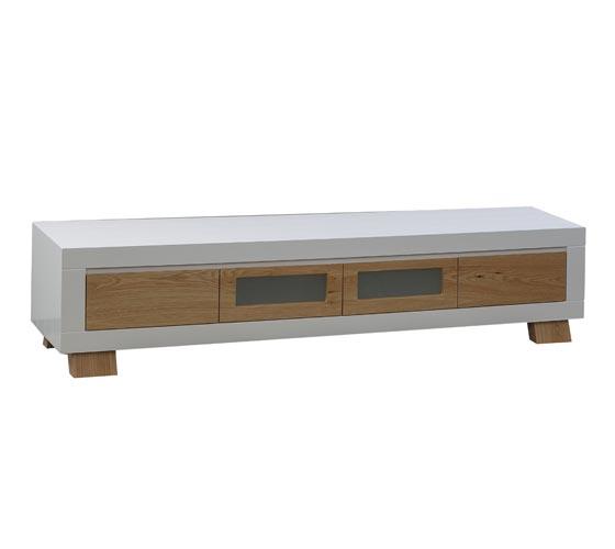 מערכת מזנון ושולחן לסלון בצבע לבן בשילוב עץ בגימור אפוקסי LEONARDO - תמונה 2