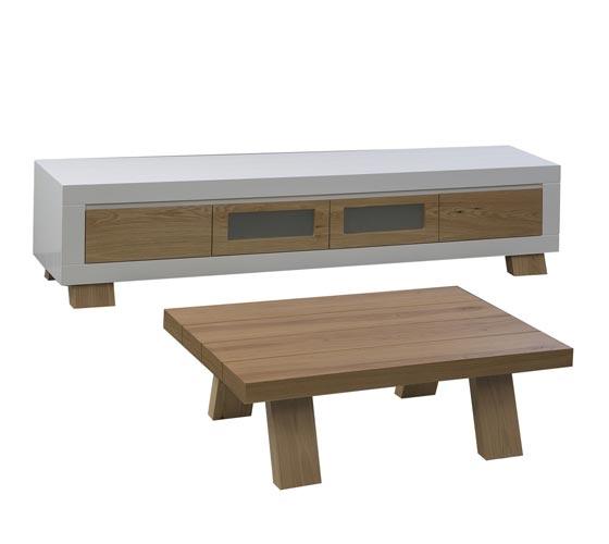 מערכת מזנון ושולחן לסלון בצבע לבן בשילוב עץ בגימור אפוקסי LEONARDO - תמונה 4