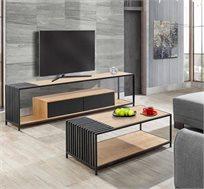 סט לסלון כולל שולחן ומזנון עשוי ברזל ומשולב עץ
