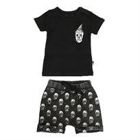 ORO חליפת טריקו (3-6 חודשים) - מכנס גולגולות ג'ינס שחור