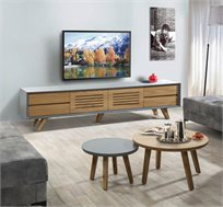 מערכת לסלון הכוללת סט מזנון טלוויזיה ושני שולחנות דגם פרסטיג'