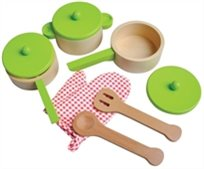 סט כלי בישול למטבח לילדים מעץ 9 חלקים - ירוק