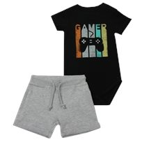Minene חליפת בגד גוף (6-24 חודשים) - Gamer שחור