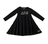 שמלת ג'רזי מסתובבת שחורה עם שרוול ארוך וכיתוב לבן