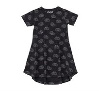 שמלה מתנופפת בצבע שחור בשילוב הדפס בייגלה