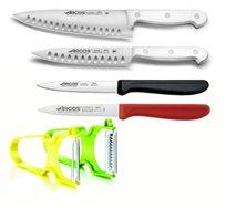 2 סכיני שף ידית לבנה במהדורה מוגבלת + 2 סכיני ירקות ARCOS + זוג קולפנים