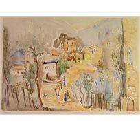 """""""עין כרם - 1953"""" - ציורו של קוסונוגי יוסף, הדפס בחתימה אישית בגודל 46X62 ס""""מ"""