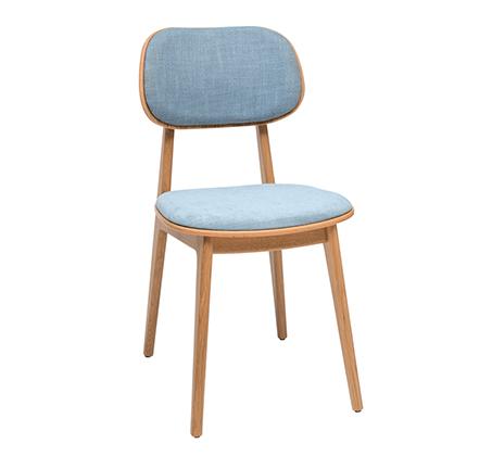 כסא מטבח מעץ אלון כולל ריפוד מושב וגב דגם לולה