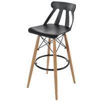 כסא בר בעיצוב מודרני מפלסטיק קשיח ורגליים עץ בשילוב מתכת