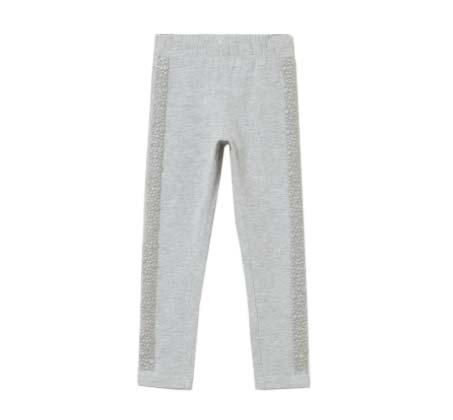 מכנס סטרץ' לילדות עם פסים נוצצים בצדדים - אפור בהיר