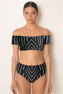 טופ ביקיני בגזרת חולצת בטן בעלת כתפיים שמוטות עם הדפס בצבעי שחור לבן