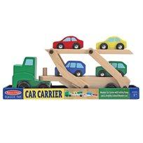 מוביל מכוניות מעץ עם 4 מכוניות