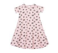שמלת ג'רזי פעמון בצבע ורוד בשילוב הדפס לבבות