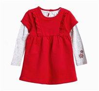 סט חולצה ושמלה לתינוקות וילדות בצבעי אדום ואפור