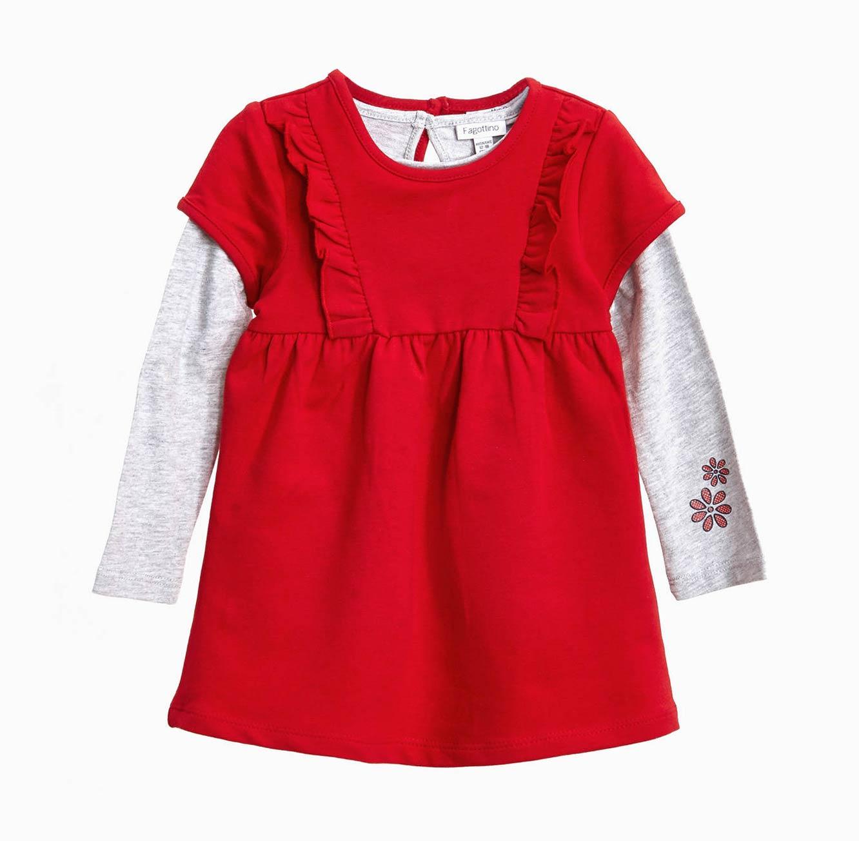 סט חולצה ושמלה OVS לתינוקות וילדות - אדום ואפור