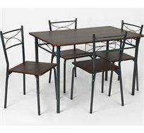 שולחן אוכל מעץ משולב מתכת + 4 כיסאות בעיצוב מודרני דגם מיטל