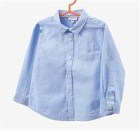 חולצת כותנה לתינוקות עם שרוולים ארוכים וצווארון קלאסי בצבע כחול שמיים