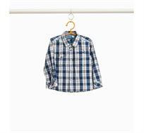 חולצת טרטן משובצת OVS לילדים - כחול לבן