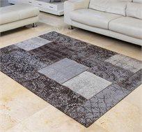 שטיח לסלון בעבודת יד ג'אקרד פאטצ' בצבע אפור במגוון גדלים לבחירה