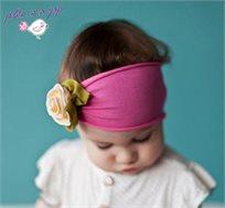 אופנה ראשונה! סרט ראש עבה פוקסיה עם פרח צהוב, 100% כותנה עדינה ונעימה לתינוקות