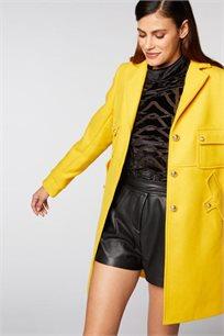 מעיל ארוך בסגנון צבאי MORGAN בצבע צהוב