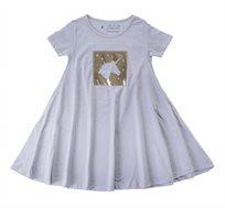 שמלה מסתובבת חד קרן מבריק בצבע אפור