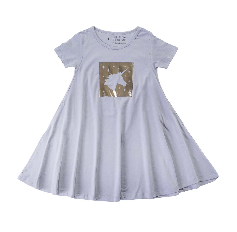 שמלה מסתובבת חד קרן מבריק - אפור