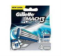"""2 מארזי רביעיית סכיני גילוח Gillette Mach3 Turbo - סה""""כ 8 סכינים"""
