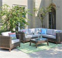 מערכת ישיבה פינתית BAMBO כוללת כורסאות יחיד, ספה פינתית ושולחן