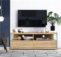 מזנון טלוויזיה בעל מדפים ומגירות דגם ווין מסדרת אקווה עשוי עץ בעל דפנות זכוכית HOMAX