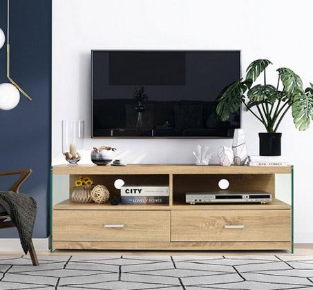 מזנון טלוויזיה דגם ווין בעיצוב המשלב עץ וזכוכית מסדרת אקווה
