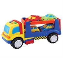 משאית הובלת מכוניות וארבע מכוניות צבעוניות