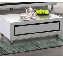 שולחן לסלון בצבע לבן בגימור אפוקסי המעוצב במראה יוקרתי ומודרני דגם סהר LEONARDO