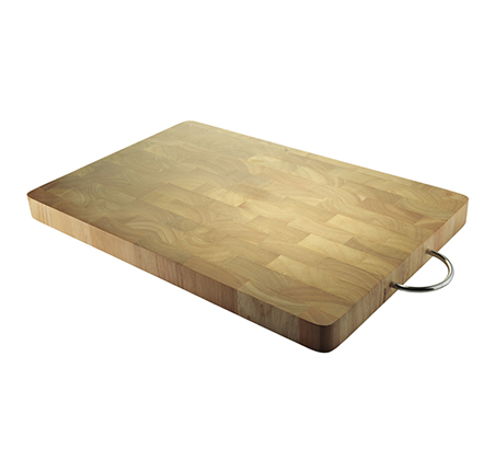 """בוצ'ר מקצועי מעץ במבוק מלא עם ידית נשיאה 45x30 ס""""מ"""