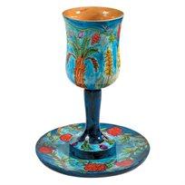 גביע קידוש גדול כולל צלחת ציור עבודת יד על עץ EMANUEL במגוון דגמים לבחירה
